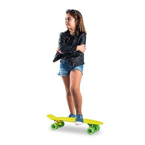Relaxdays Skateboard Kinder 22 Zoll, Komplettboard ABEC 7, Mini Cruiser mit Aluminium Achsen u. Kunststoff Deck, Gelb