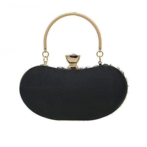 POKWAI Clutch Frauen Handbohrgerät Flower Evening Clutch Handtasche Für Prom Braut Hochzeit Handtasche Black