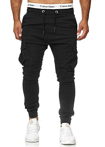Code47 Herren Chino Jogg Jogger Jeans Slim Fit Cargo Stretch W29-W38 Schwarz W36 L32