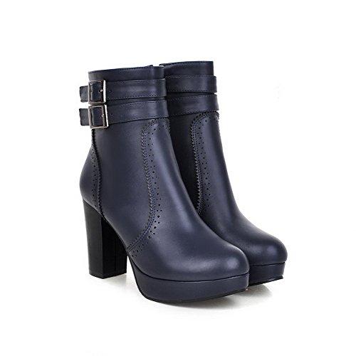 AgooLar Damen Rund Zehe PU Reißverschluss Hoher Absatz Stiefel, Schwarz-Blockabsatz, 35