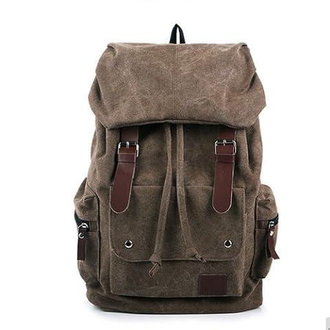 iDream - Sac à dos Sac de voyage Sac d'école en toile unisexe multifonctionnel - pour voyage camping randonnée hiking scolaire etc. - 42 * 31 * 17cm (Gris)