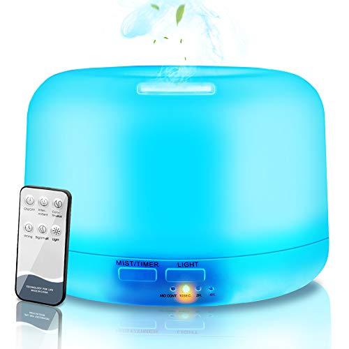 NAIXUES Humidificador Ultrasónico Aromaterapia 300ml con Control Remoto, Difusor de Aceites Esenciales, 7-Color LED, 2 Temporizador, Ambientador, Humidificador Hogar, Oficina, Bebé, Yoga, SPA