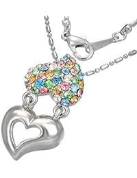 Mode Kristall Doppel Liebe Herz Versprechen Charm Halskette mit Schmucksteinen - Bunt