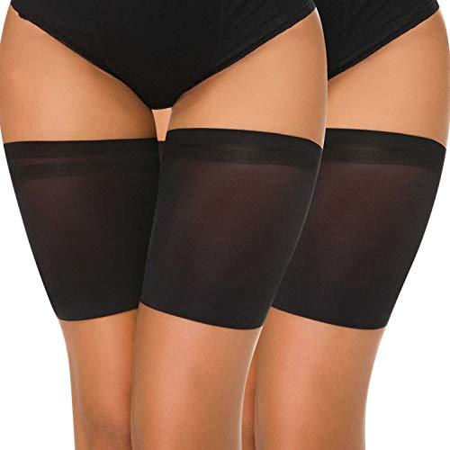 Elastische Damen Socken (UMIPUBO Elastische Oberschenkelbänder Socken Damen Sexy Glatt Schenkel-Band Anti-Chafing Bands Anti-Rutsch Oberschenkel (D:70-75cm, 2 Paar Schwarz))