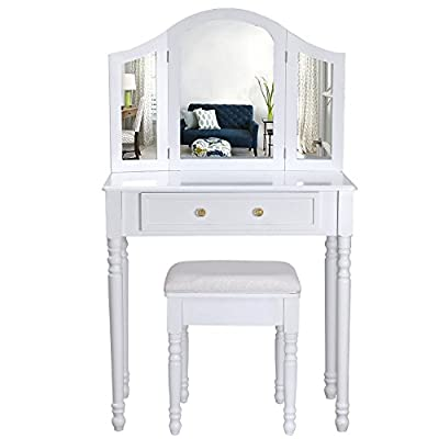 Sienna | Dressing Table, Mirror & Stool Set| Shabby Chic | Bedroom Dresser | Vanity