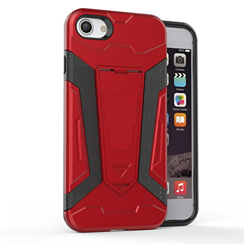 Apple iPhone 7 4.7 Coque, Voguecase [Armure Series] 2 in 1 Shockproof Hybrid Doux TPU and Hard PC Rugged Protective Rigide Plastique Shell Housse Coque Étui Avec Built-in KickSupporter(Marron) de Grat Rouge