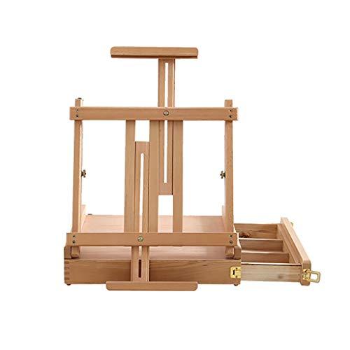 GAIQIN Robusto y Duradero Caja de Madera Plegable de la Base de Escritorio Que bosqueja la Caja de Pintura portátil con el cajón 42 * (31-85) cm