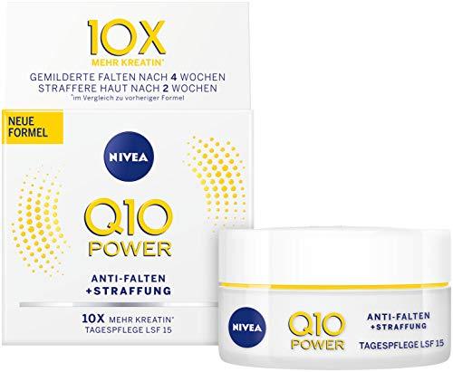 NIVEA Q10 Power Anti-Falten + Straffung Tagespflege für glattere & jünger aussehende Haut, Tagescreme mit LSF 15, 2er Pack(2 x 50 ml) -