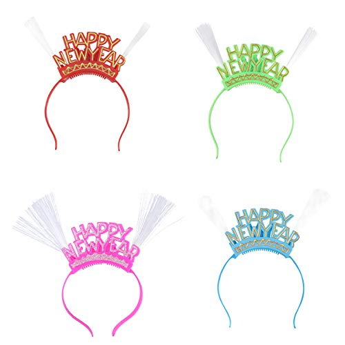 4Pcs Silvester Krone Silvester Haarreif mit Licht Neujahr Party Dekoration HAPPY NEW YEAR (rot, rosa, blau, grün)