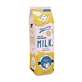 Astuccio Fablcrew a forma di cartone del latte, astuccio in poliuretano con cerniera per ufficio e scuola