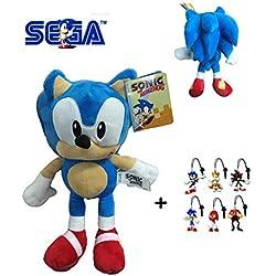 Sonic - Pack Peluche Sonic 30cm Calidad Super Soft + 1 Llavero Aleatorio de Sonic
