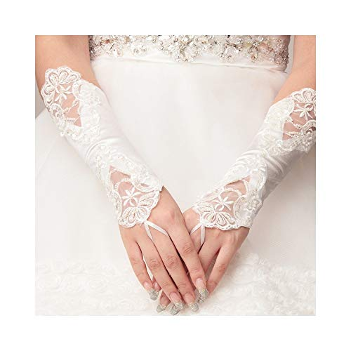 Womens Bankett Party Fingerless elegante Spitze bestickte Brauthandschuhe (Color : White) ()