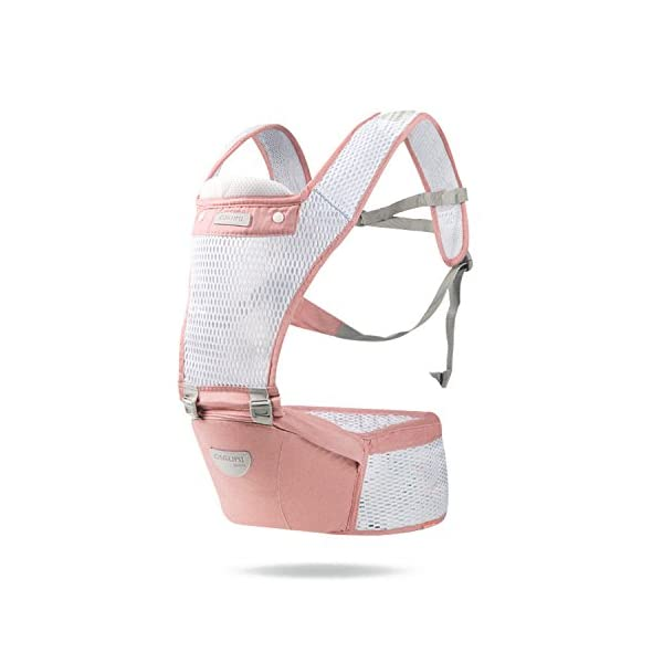 SONARIN 2018 Front Hipseat Baby Carrier, All Seasons Common, high Stretch Yarn Fabric, Summer Breathable, Ergonomic, 6 Carrying Positions,Adapted to Your Child's Growing,Ideal Gift(Pink) SONARIN Applicable age and Weight?0-48 months of baby, the maximum load: 20KG, and adjustable the waist size can be up to 45.7 inches (about 116cm). Material:designers choose breathe and dry high stretch yarn hollow fabric. All-round breathable design, 9MM breathable mesh, faster than the average 2 times the speed of the carrier, the baby's skin without any stimulation. Description: patented design of the auxiliary spine micro-C structure and leg opening design, natural M-type sitting. Widen the shoulder strap and belt will be effective to disperse the baby's weight to the shoulder and waist, so that mother more effort. Products by the strength of tensile and gravity testing, safety load 70 KG. 1