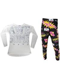 Minx - ensemble de haut à manches longues et legging Bam Boom noir 7-13 ans filles neuf