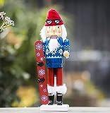 WENYAO Willower Schiaccianoci Decorazioni per Interni in Legno per la casa Soggiorno Ristorante S 'Studio per Bambini Cartone Animato Creativo Simpatiche Piccole Decorazioni, Sci di Babbo Natale