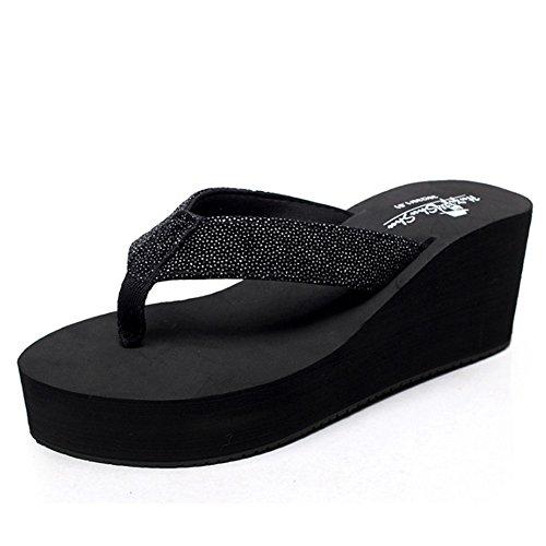 Confortevole Pattini high-heeled di estate Pendenti della catena di modo delle donne con i pattini Sandali spessi del sandwich pattini freddi di personalità (3 colori opzionali) (formato opzionale) È  A
