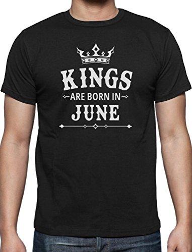 Geschenk T-Shirt für den Mann- Kings are born in Juni T-Shirt Schwarz
