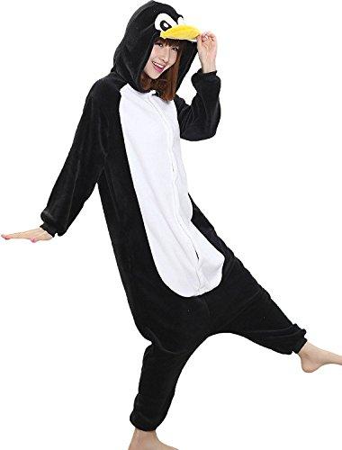 Pinguin Ganzkörper Tier-Kostüm für Erwachsense - Plüsch Einteiler Overall Jumpsuit Pyjama Schlafanzug - Schwarz/Weiß - Gr. M