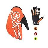 SOLO QUEEN Guantes de Moto y Bicicleta y ATV para Verano Una Sola Capa Ciclismo Adulto Unisexo Coloreado Antideslizante (M, naranja)