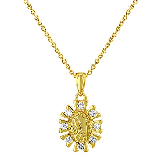 In Season Jewelry - Collar con Colgante de Medalla pequeña Virgen María chapada en Oro de 18 Quilates con circonita cúbica Transparente