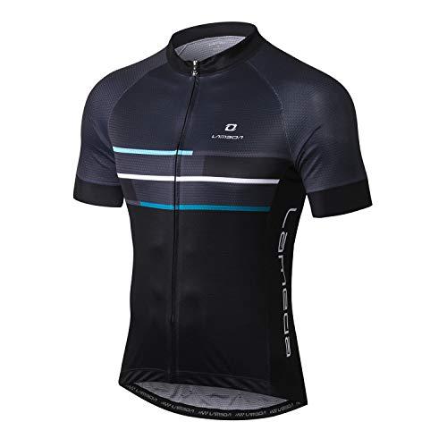 LAMEDA Kurzarm Radtrikot Fahrradtrikot Herren T-Shirt Jersey Radsport Funktionsshirt Elastische Atmungsaktive Schnell Trocknen Stoff(Blau M)