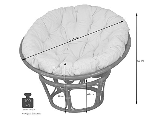 moebel direkt online Papasansessel, Durchmesser 100 cm _ Inklusive bequemen Kissen _ weiß - 2