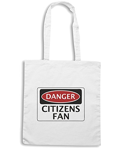 T-Shirtshock - Borsa Shopping WC0301 DANGER MANCHESTER CITY, CITIZENS FAN, FOOTBALL FUNNY FAKE SAFETY SIGN Bianco