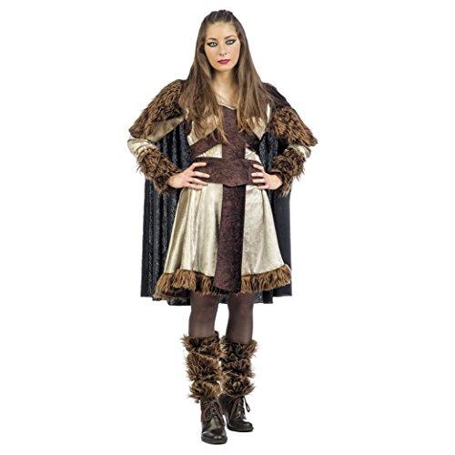 Wikingerin Damen Kostüm Bera mit Fellbesatz 3-tlg. Kleid mit Cape Stulpen - L