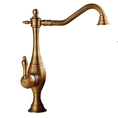 SXYULQQZ Antiker Nostalgie-Badezimmer-Hahn 360 Grad;Schwenkbarer Waschtischmischer Aufsatzwaschtisch Messinghahn Antik Gebürstet Schwarz Bronze Messing Finish (Farbe: Bronze) -