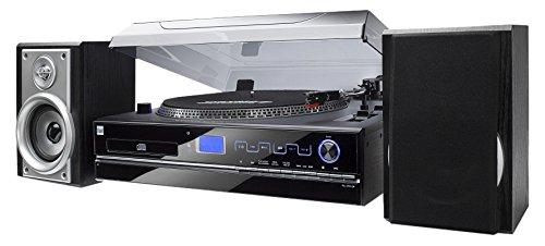 Stereoanlage mit Plattenspieler  Riemenantrieb  33/45 U/min  Kompaktanlage  Lautsprecher Paar  Radiotuner  CD-Player  MP3-fähig  Kassette  USB-Port  SD-Card  Direct-Encoding  Digitalisierungsfunktion  AUX-In  Kopfhöreranschluss  Fernbedienung  Dual NR 100