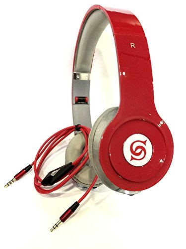 Solid Bass SL-800 - Cuffie auricolari HD Sound DJ Style per lettori MP3/MP4, iPod, iPhone, iPad, Tablet, Laptop, smartphone, lettori multimediali portatili, (Rosso)