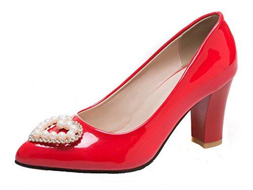 VogueZone009 Donna Puro Pelle di Maiale Tacco Medio Scarpe A Punta Tirare Ballerine Rosso