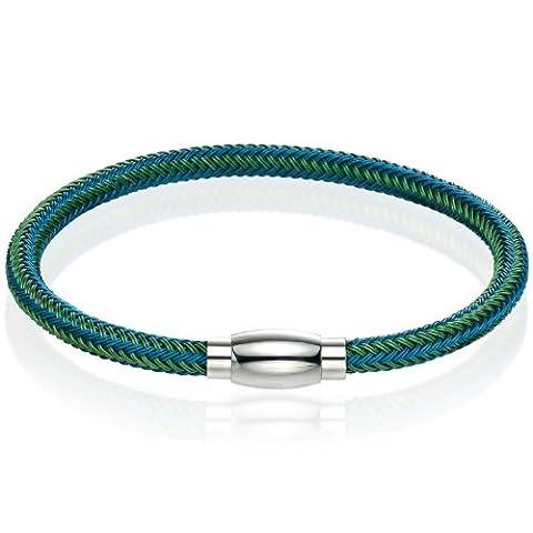 Fred Bennett Herren-Armband Edelstahl B4328 Edelstahl Armband gewebt Blau und Grün, 22 cm