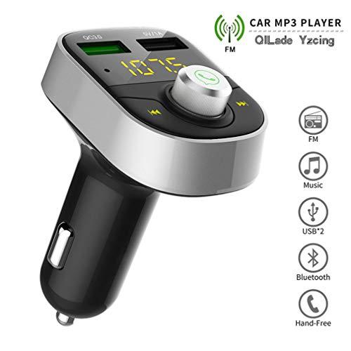 QILade Yzcing Bluetooth FM Transmitter fürs Auto, Wireless Radio Adapter, Music Player Car Kit mit Zwei USB-Ladeanschlüssen 5V / 2.1A, TF-Kartensteckplatz, Freisprechfunktion Qualcomm Antenne Adapter