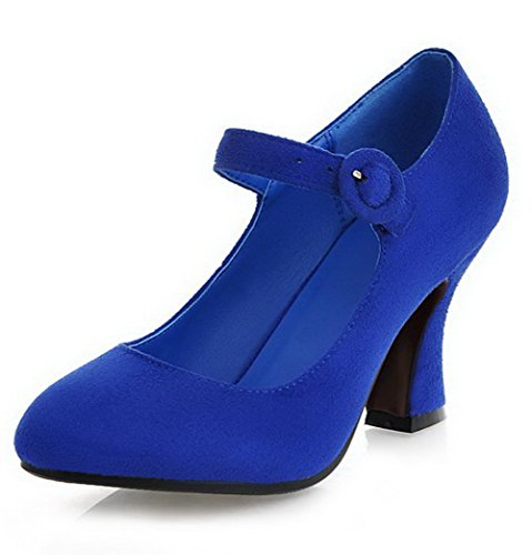 VogueZone009 Damen Mattglasbirne Rund Zehe Hoher Absatz Schnalle Rein Pumps Schuhe Blau