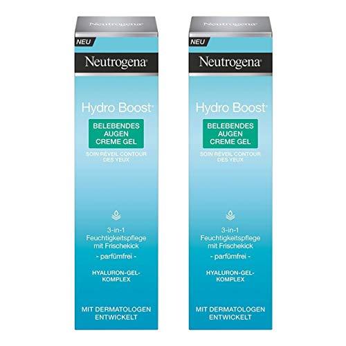 Neutrogena Hydro Boost Belebendes Augen Creme Gel - Spendet 24h Feuchtigkeit und beugt dem Verlust von Spannkraft vor - 2 x 15ml