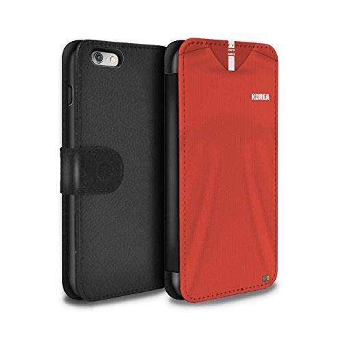Stuff4® PU-Leder Hülle/Case/Tasche/Cover für Apple iPhone 6 / Südkorea/Koreanisch Muster/Weltmeisterschaft 2018 Fußball Trikot Kollektion (Koreanische Iphone 6 Fall)
