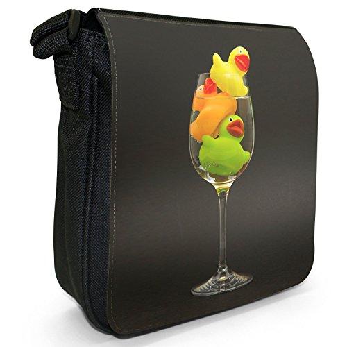 Paperelle di gomma Bubble Bath giocattolo per bambini piccolo nero Tela Borsa a tracolla, taglia S Duck Special Cocktail