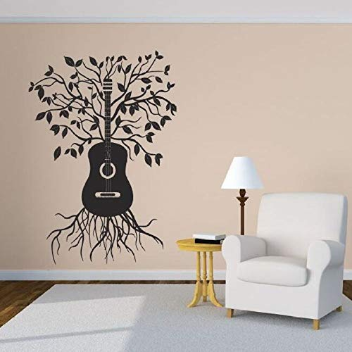 jiushixw Musik Melody Tree Wandaufkleber Home Design Wandkunst Kreative Gitarre Baum Vinyl Wandtattoo Musical Wand Vinyl Wand Ay 42x61 cm (Junior Cowboy Kostüm)