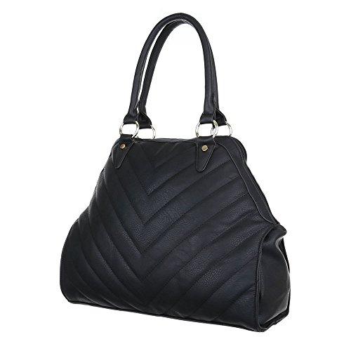 Damen Tasche, Schultertasche, Große Handtasche, Kunstleder, TA-B539 Schwarz