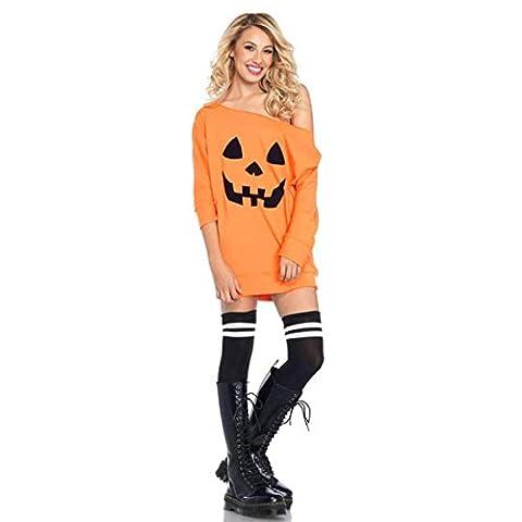 Internet Damen Kaltes Schulter Kürbis Kostüm Kleid Halloween Abendkleid (L, orange)
