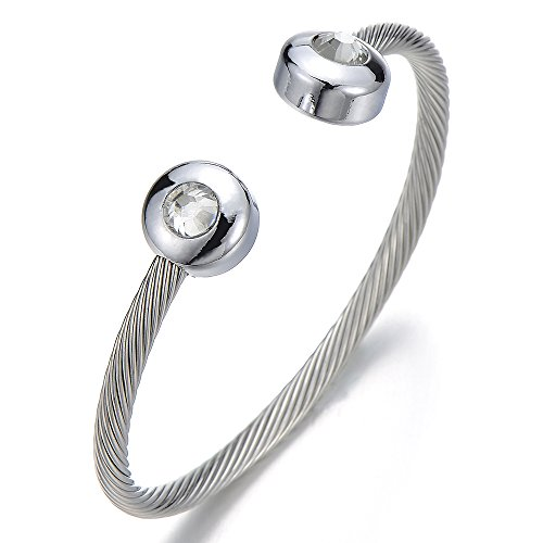 Elástica Ajustable, Magnetico, Terapia Pulsera de Mujer, Acero Inoxidable, Cable de Acero, con Zirconio Cúbico