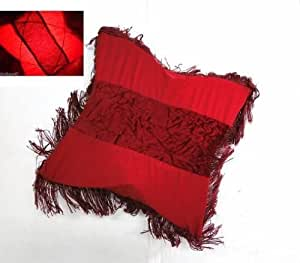 COUSSIN LAMPE AMBIANCE VEILLEUSE LUMINEUX TISSU FRANGE