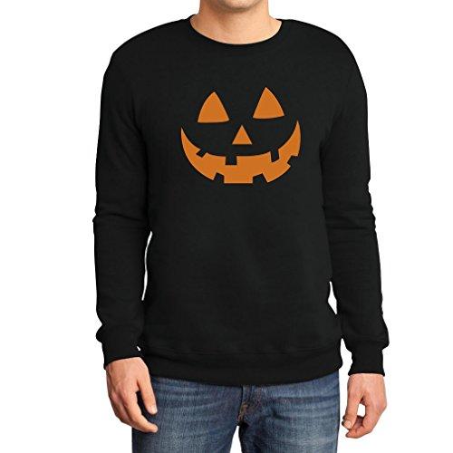 Halloween Pullover - Jack O' Lantern Kürbis Gesicht Sweatshirt XX-Large Schwarz (Schnitt Gesicht Halloween Kürbis)
