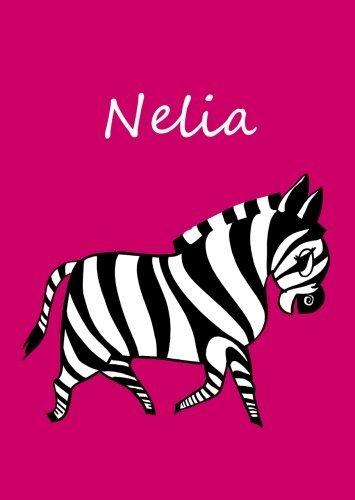 Nelia: personalisiertes Malbuch / Notizbuch / Tagebuch - Zebra - A4 - blanko