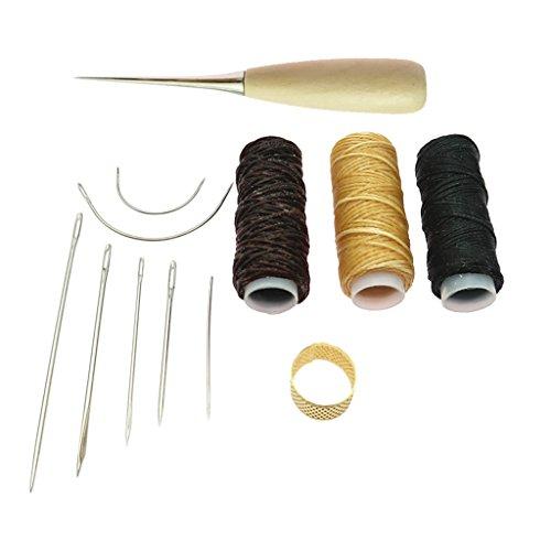 perfk 12pcs Leder Handwerk Hand Nähen Werkzeug wachsfaden Ahle Fingerhut Kit