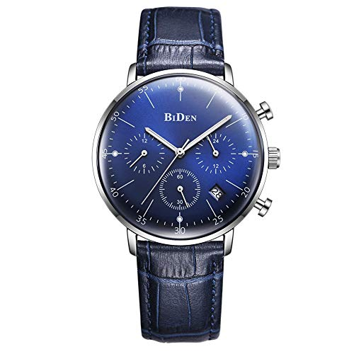 QRMH Männliche Uhren Blue Men ' S Business Waterproof Fashion Watch 2.5D Convex Mirror Personality Calendar Six-Pin ()