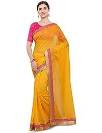 G Stuff Fashion Women Chanderi Silk Saree with Blouse piece_SE_Yellow_Saree_01