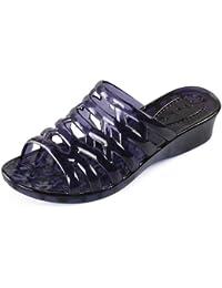 Qingchunhuangtang@ Zapatillas De Tacón Alto Fresco Verano Zapatillas De Baño De Plástico Transparente De Calzado...