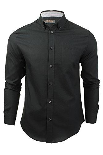 mens-long-sleeved-oxford-shirt-by-ben-sherman-black-xl